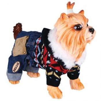 DEZZIE Свитер д/собак вязаный с капюшоном+синие джинсовые шорты, 30см