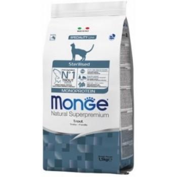 Monge Cat Monoprotein Sterilised Trout корм для стерилизованных кошек с форелью 1,5 кг
