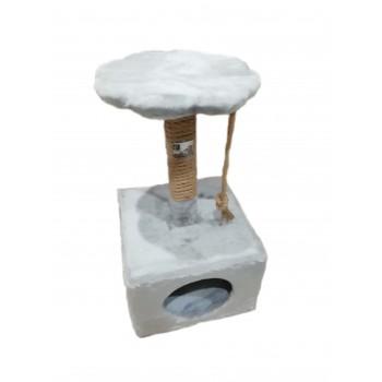 Дом-куб с полкой Pet Art. Серебристо-серый.