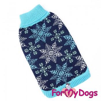 "Вязаный свитер ""Снежинка"" синий. Размер 14-16"