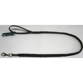 АРКОН пл12ч/  Поводок плетеный кожаный 12, размер  120 см x 12 мм, цвет черный, пл12ч, плетение - косичка, импортный карабин