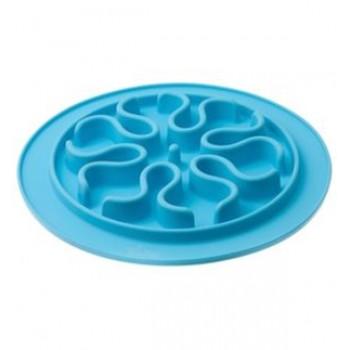V.I.Pet Миска силиконовая рельефная (волны) игровая для медленного поедания корма (ГОЛУБАЯ) 24 см